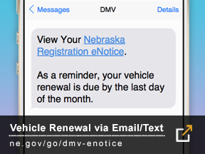 eNotice Vehicle Renewal via Email/Text